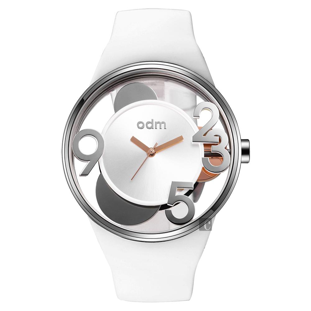 ODM SKY SPIN 轉出春日色彩風車手錶-白/44mm DD155-02