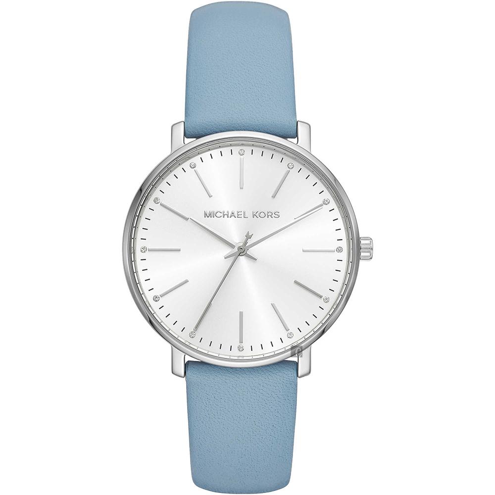 Michael Kors Pyper 紐約時尚女錶-銀x藍色錶帶/38mm MK2739