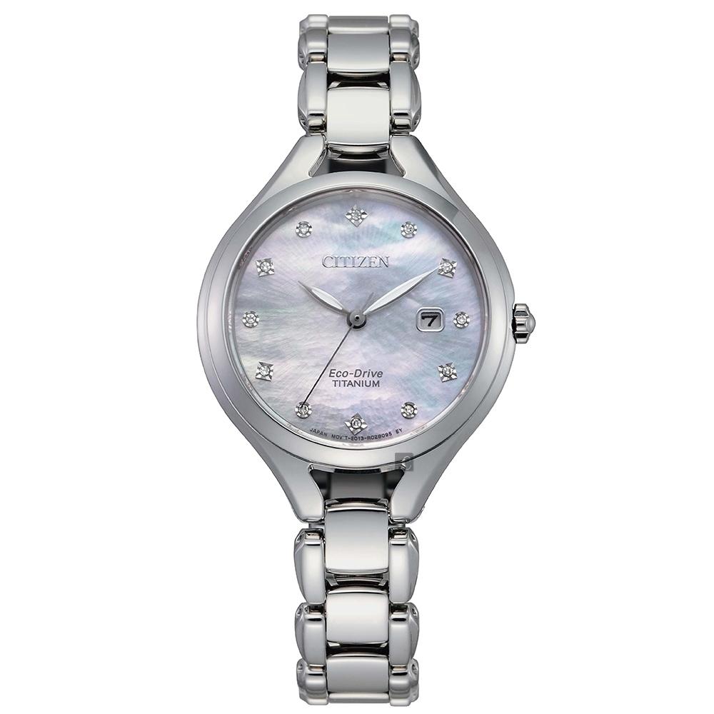 CITIZEN 星辰 L系列光動能鈦金屬女錶-珍珠貝 EW2560-86D
