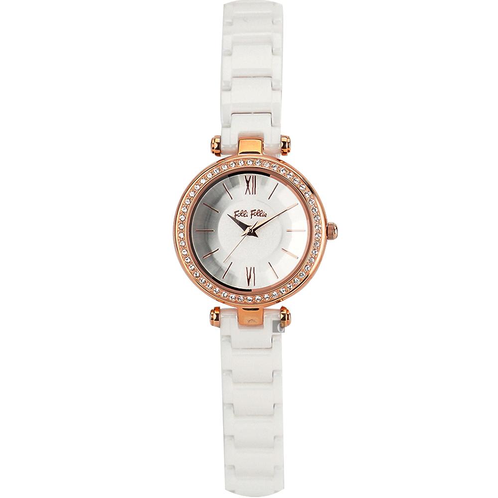 Folli Follie 優雅晶鑽陶瓷手錶-30mm WF16B009BPW-XX
