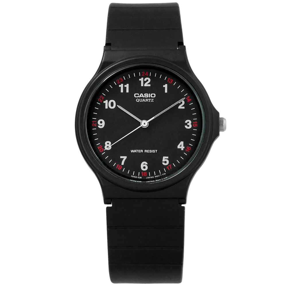 CASIO / MQ-24-1B / 卡西歐 簡潔復刻 數字時標 日本機芯 橡膠手錶 黑色 33mm
