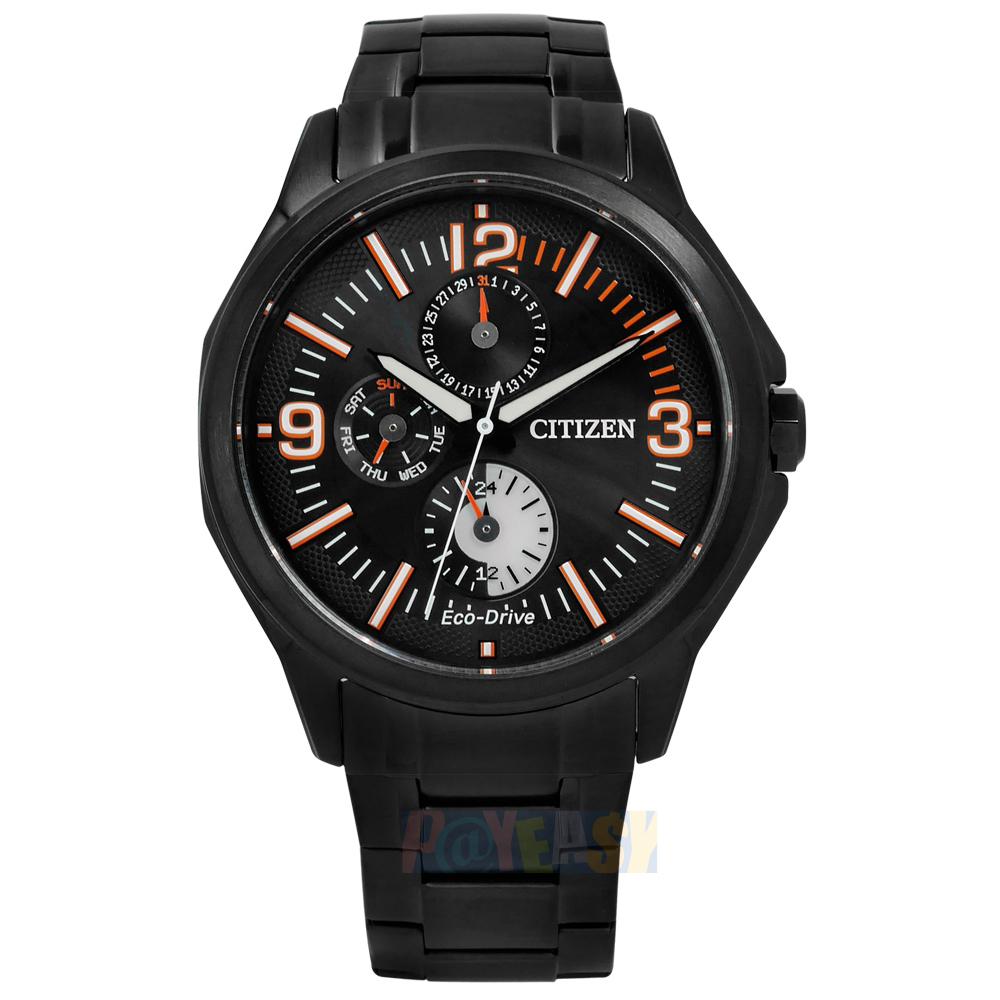 CITIZEN 星辰表Eco-Drive率性沉穩三環不鏽鋼手錶-黑〈AP4005-54E〉