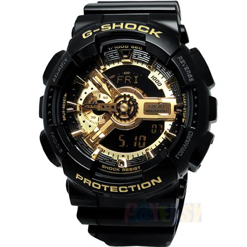 G-SHOCK 金屬光芒‧重機裝置抗磁雙顯電子腕錶-黑金〈GA-110GB-1A〉