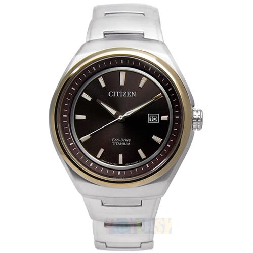 CITIZEN Eco-Drive 簡約紳士 藍寶石玻璃鈦金屬腕錶 玫瑰金 褐色 43mm/AW1255-50W