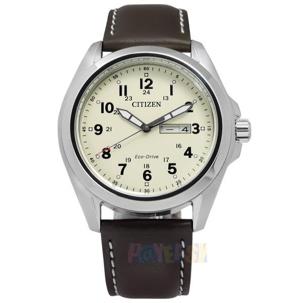 CITIZEN 星辰表 / AW0050-15A / 秉持專業光動能日期牛皮腕錶 米黃x咖啡 43mm