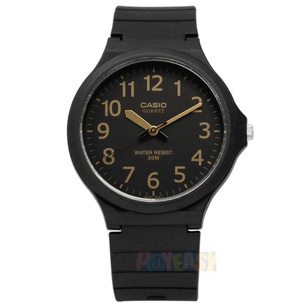 CASIO / MW-240-1B2 / 卡西歐經典清晰數字耐看設計橡膠腕錶 金x黑 42mm