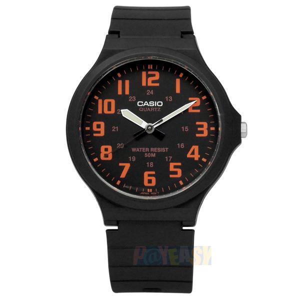 CASIO / MW-240-4B / 卡西歐簡約清晰數字橡膠腕錶 橘x黑 42mm