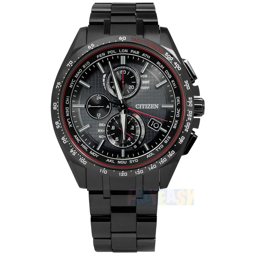 CITIZEN 星辰表 / AT8145-59E / 限量輕質感電波光動能鈦金屬手錶 鍍深灰 41mm