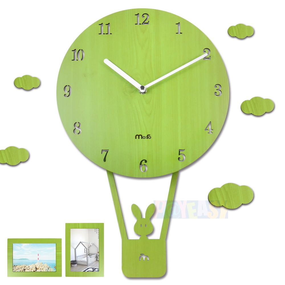 10吋 小兔熱氣球 居家擺飾 輕薄簡約 兒童房 兒童臥室 餐廳客廳 靜音搖擺掛鐘 - 綠色
