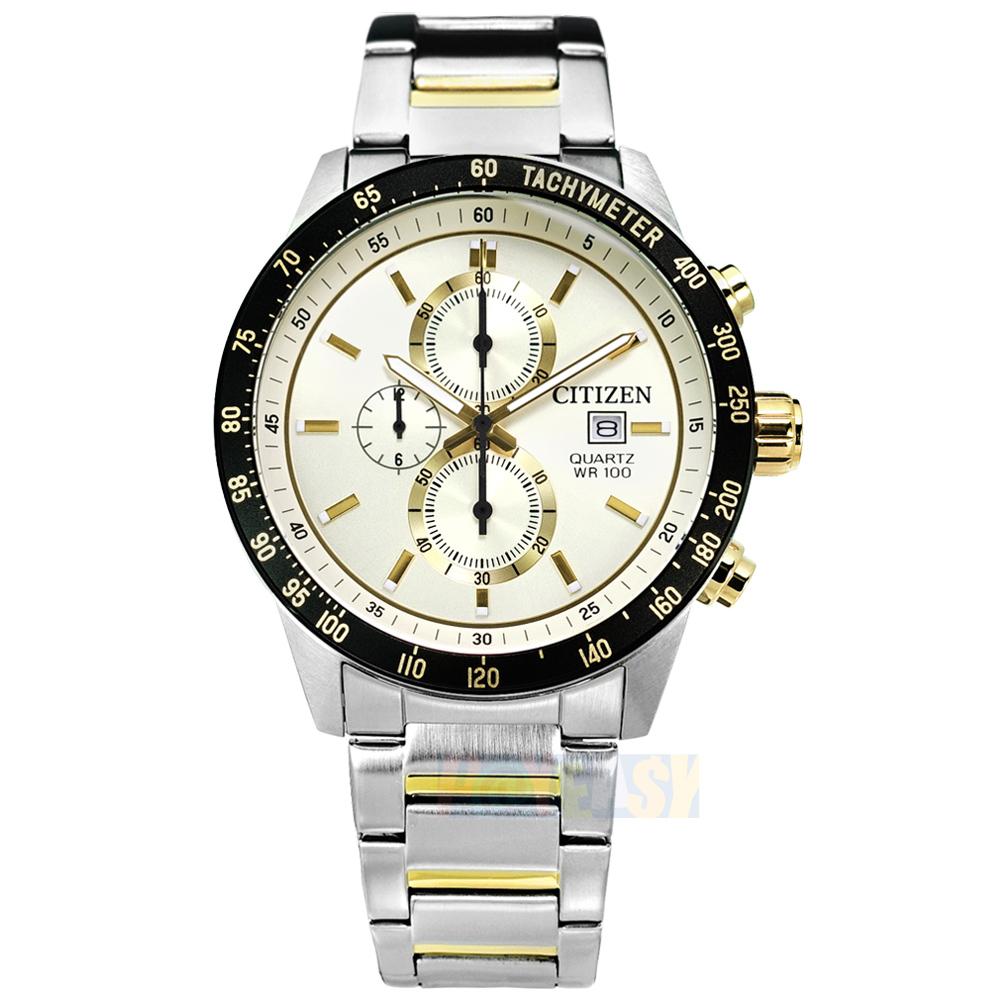 CITIZEN / AN3604-58A / 礦石強化玻璃 三眼計時 防水100米 不鏽鋼手錶 米白x鍍金 44mm_44mm