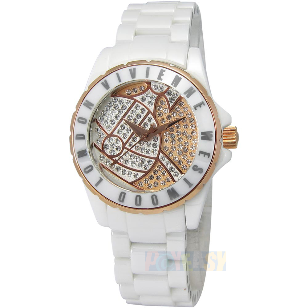 Vivienne Westwood / VV088SRSWH / Sloane Showpiece 星球引力晶鑽陶瓷手錶 白色 30mm