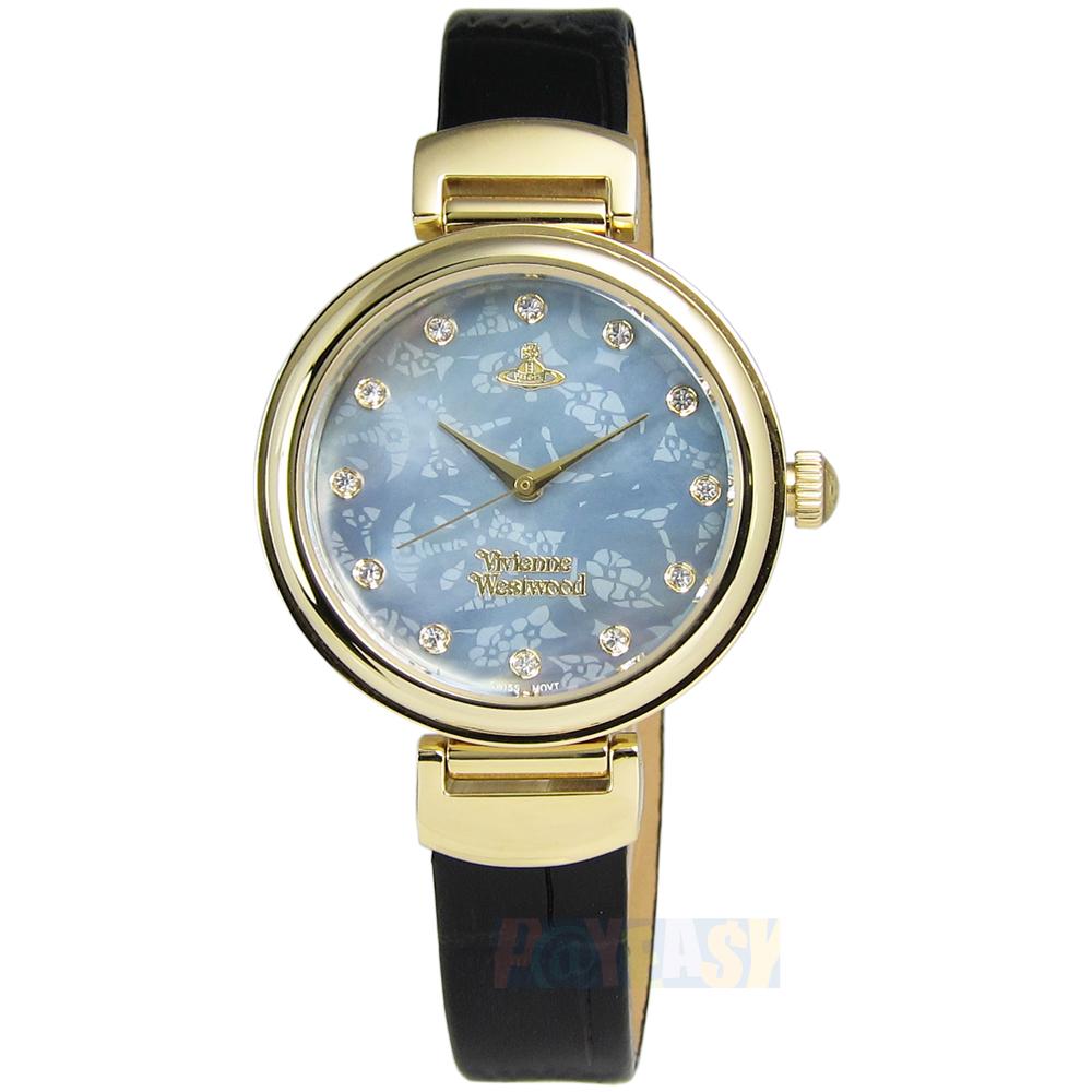 Vivienne Westwood / VV128GDBK / Hampton浪漫圓舞曲真皮手錶 藍x金框x黑 32mm