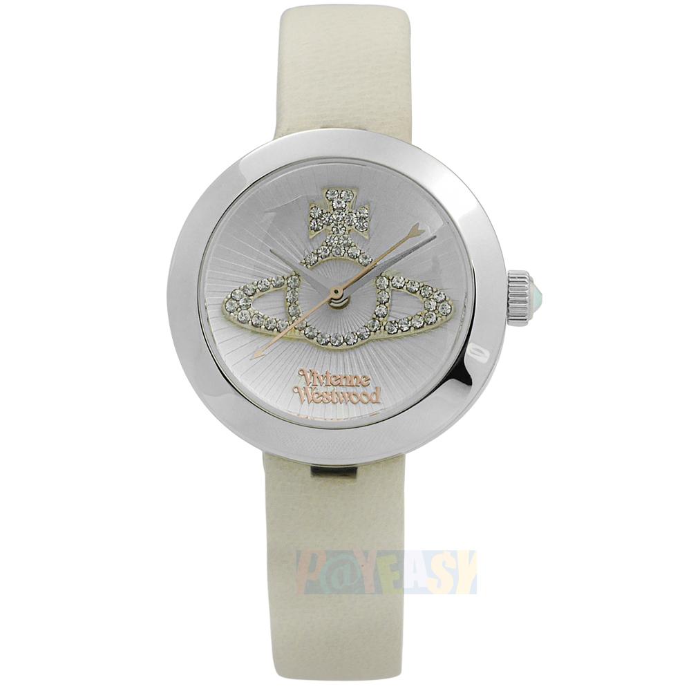 Vivienne Westwood / VV150WHCM / 獨特典雅晶鑽真皮手錶 銀x杏 30mm