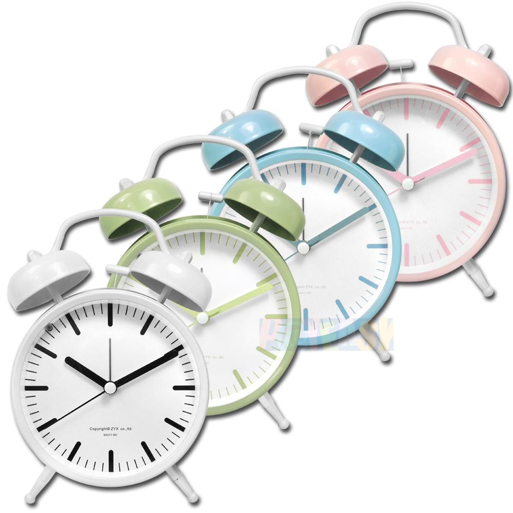 4吋 居家擺飾 復古雙鈴 超大鈴聲 北歐風 辦公桌床頭 桌上型 鬧鐘 時鐘 - 白/綠/藍/粉