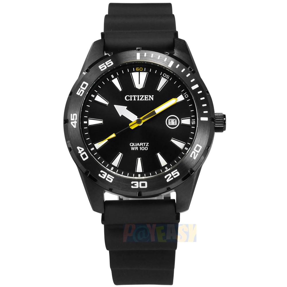 CITIZEN / BI1045-13E / 三眼計時 礦石強化玻璃 日本機芯 防水100米 橡膠手錶 黑色 42mm