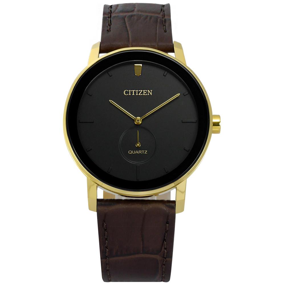 CITIZEN / BE9182-06E / 簡約時尚 礦石強化玻璃 日本機芯 壓紋真皮手錶 黑x金框x深褐 42mm