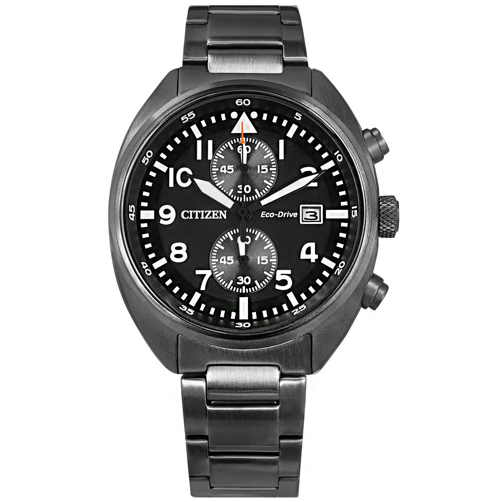 CITIZEN / CA7047-86E / 光動能 計時碼錶 礦石強化玻璃 日期 防水100米 不鏽鋼手錶 鍍灰 42mm