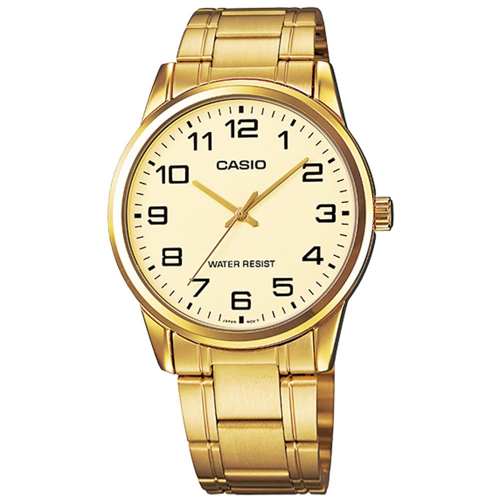 CASIO / MTP-V001G-9B / 卡西歐 紳士經典 復古時尚 數字刻度 不鏽鋼手錶 金色 38mm