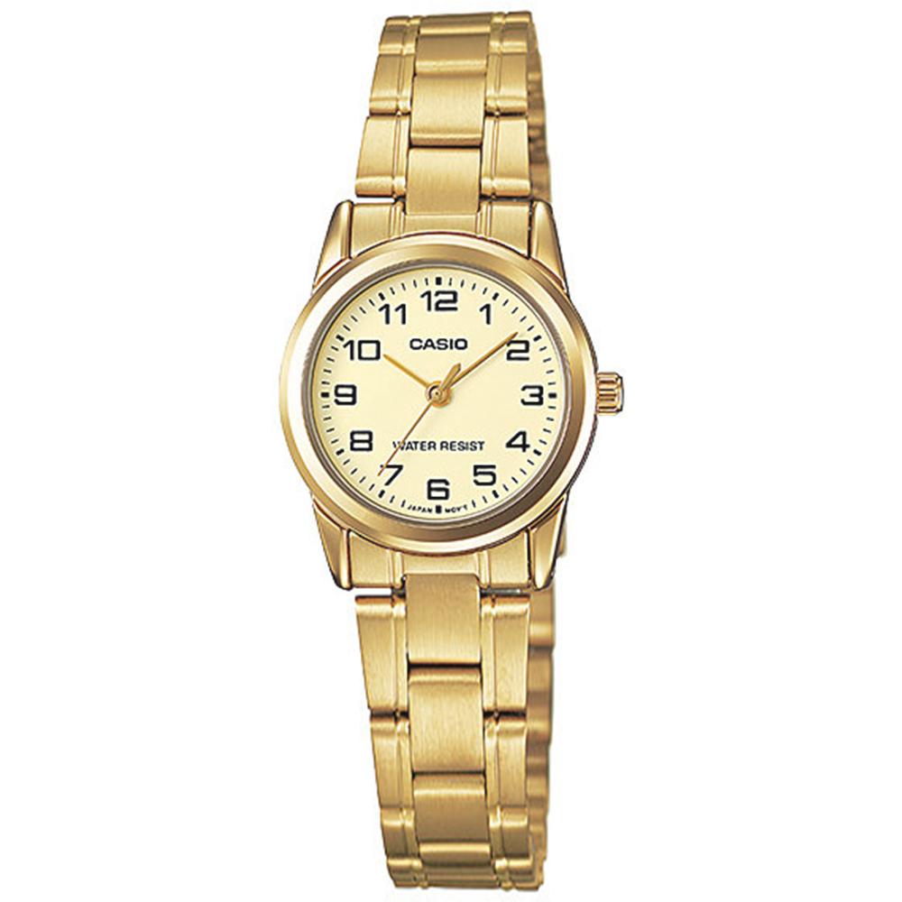 CASIO / LTP-V001G-9B / 卡西歐 簡約優雅 復古時尚 數字刻度 不鏽鋼手錶 金色 25mm