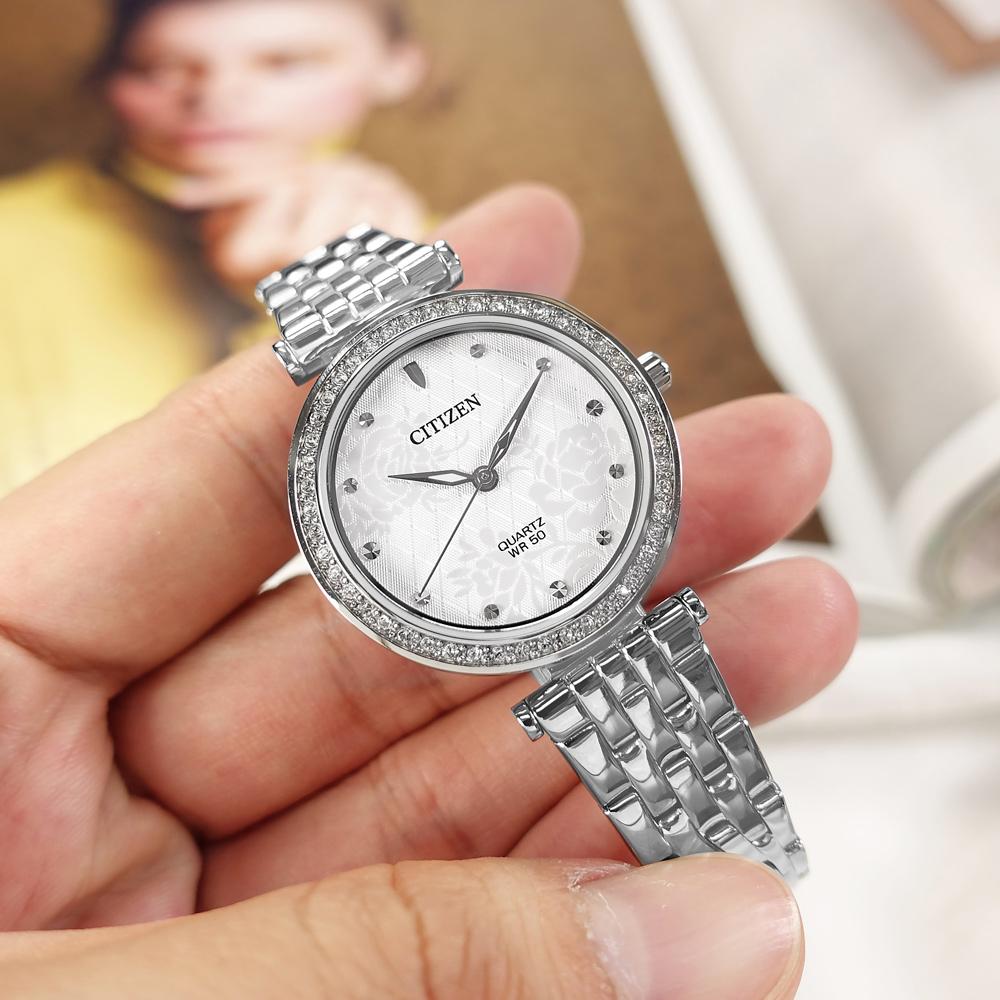CITIZEN / ER0211-52A / 花樣風采 耀眼晶鑽 礦石強化玻璃 日本機芯 不鏽鋼手錶 白色 30mm