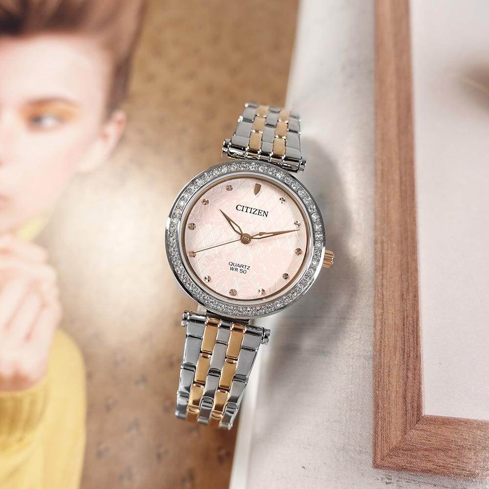 CITIZEN / ER0218-53X / 花樣風采 耀眼晶鑽 礦石強化玻璃 日本機芯 不鏽鋼手錶 粉x鍍玫瑰金 30mm