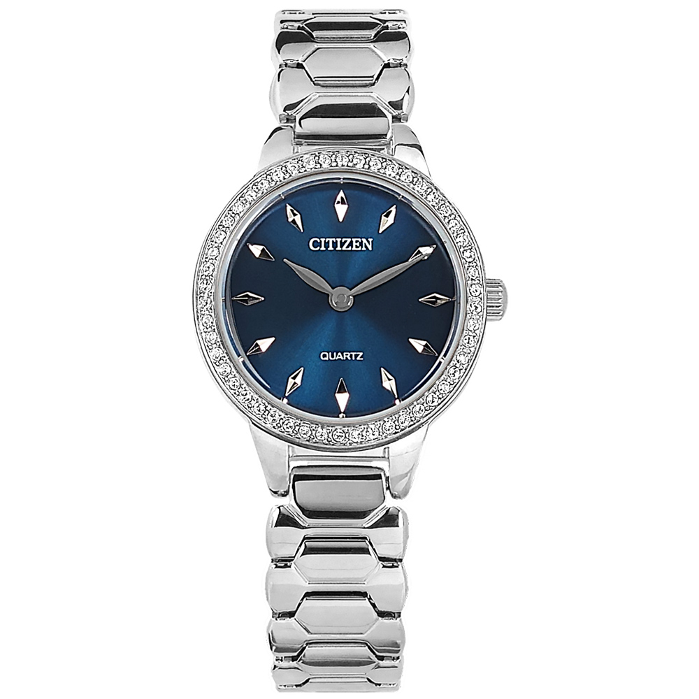 CITIZEN / EZ7010-56L / 耀眼晶鑽 礦石強化玻璃 日本機芯 不鏽鋼手錶 藍色 24mm