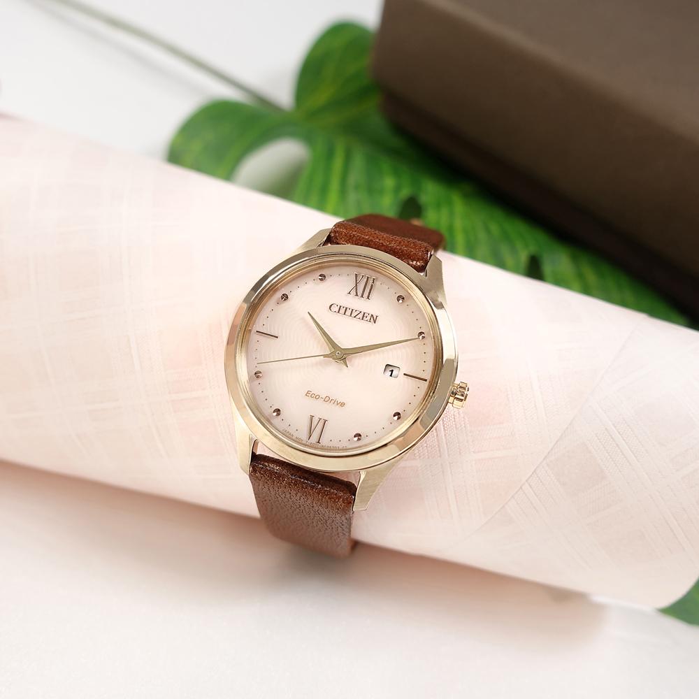 CITIZEN / EW2533-11X / 光動能 放射狀 日期 日本機芯 真皮手錶 粉x香檳金框x褐 30mm