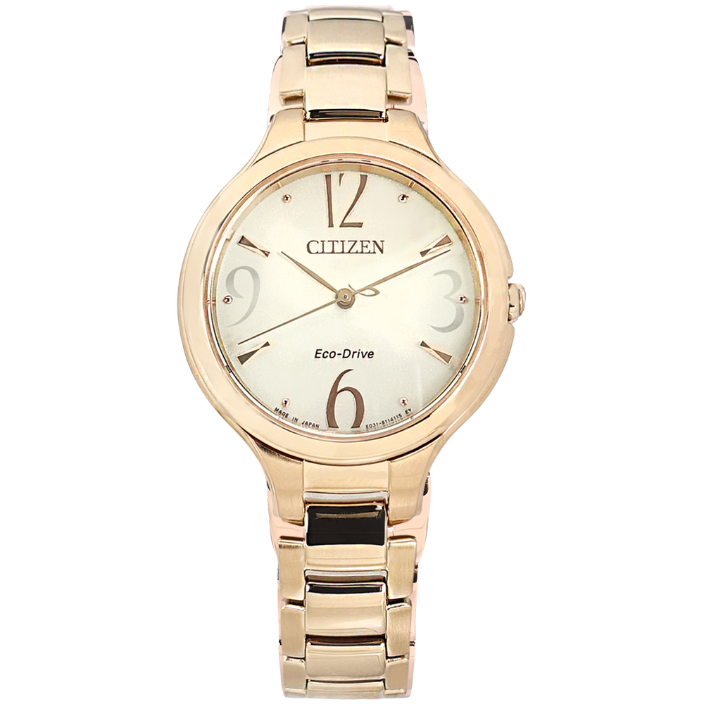 CITIZEN / EP5992-54P / 光動能 優雅迷人 藍寶石水晶玻璃 不鏽鋼手錶 銀白x鍍香檳金 33mm
