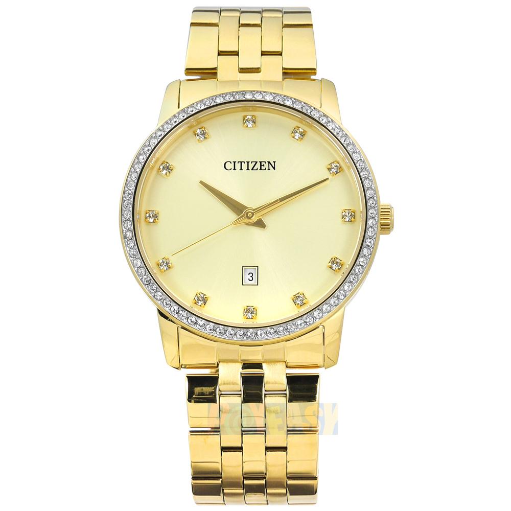 CITIZEN / BI5032-56P / 耀眼時刻 晶鑽點綴 礦石強化玻璃 日期視窗 不鏽鋼手錶 鍍金 40mm