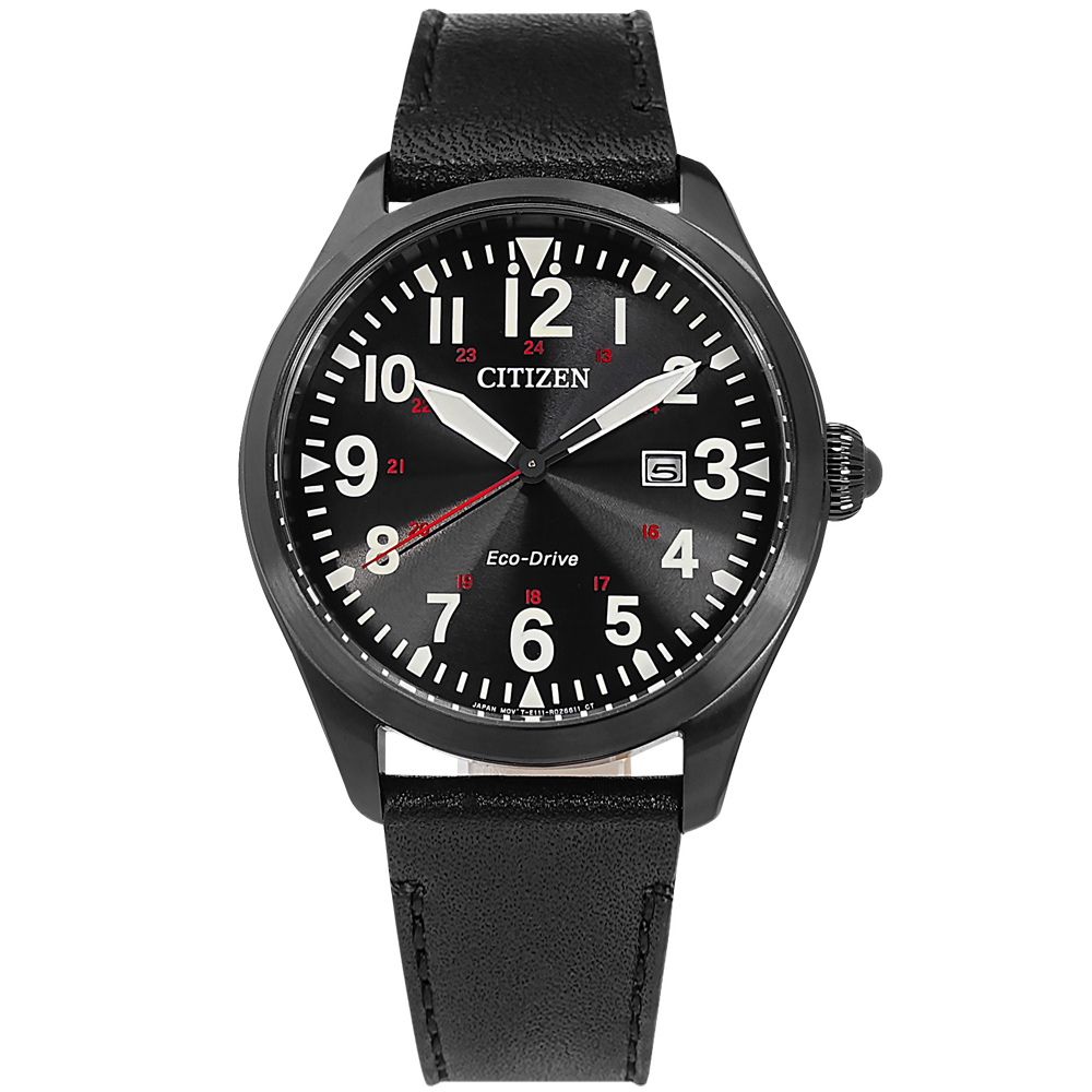 CITIZEN / BM6835-23E / 光動能 經典百搭 日期 防水100米 小牛皮手錶 黑色 42mm