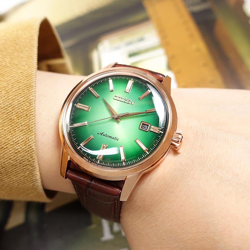 CITIZEN / NK0002-14W / 限量款 復刻經典 機械錶 日期 小牛皮壓紋手錶 綠x玫瑰金框x深棕 41mm