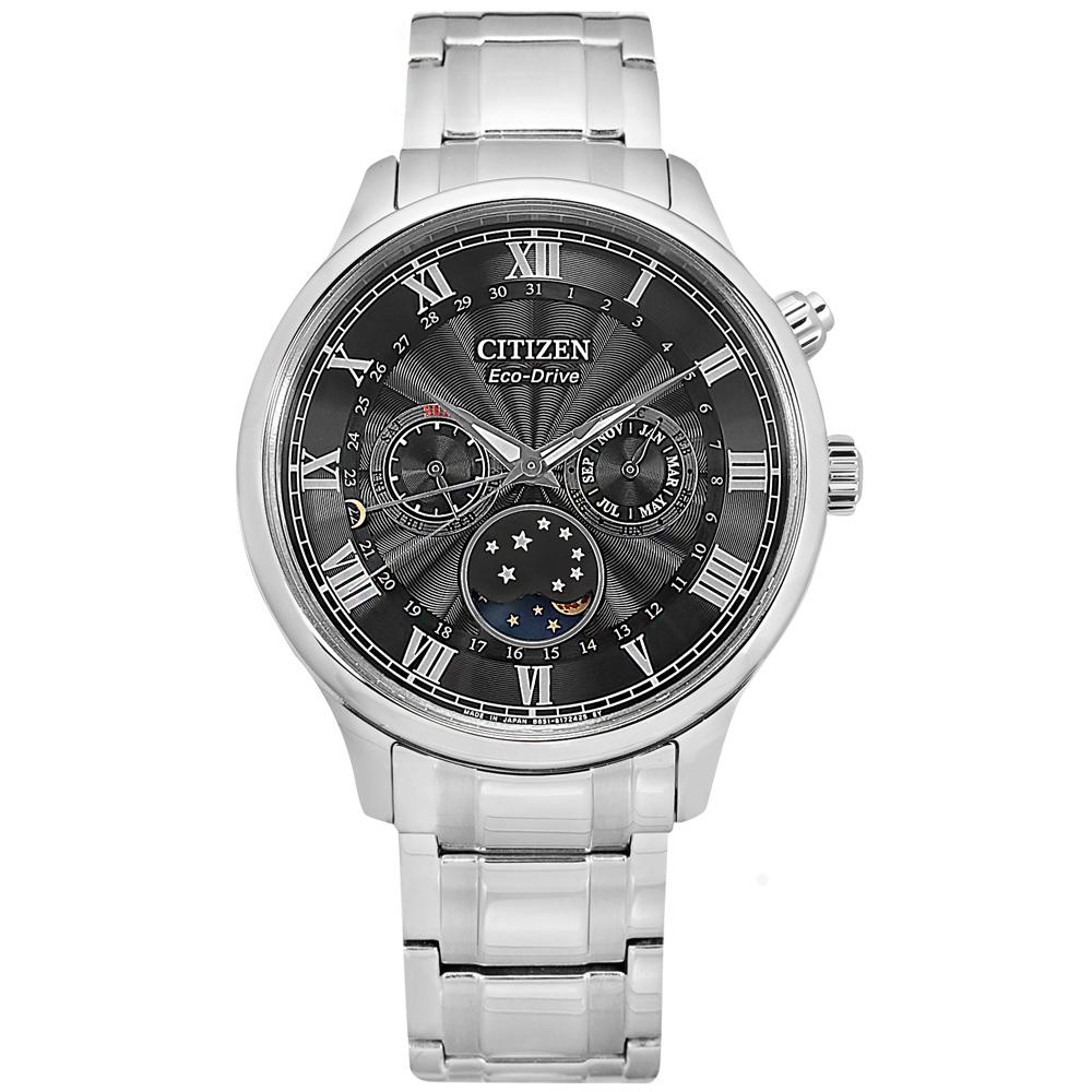 CITIZEN / AP1050-81E / 光動能 月相錶 羅馬刻度 藍寶石水晶玻璃 不鏽鋼手錶 黑色 42mm