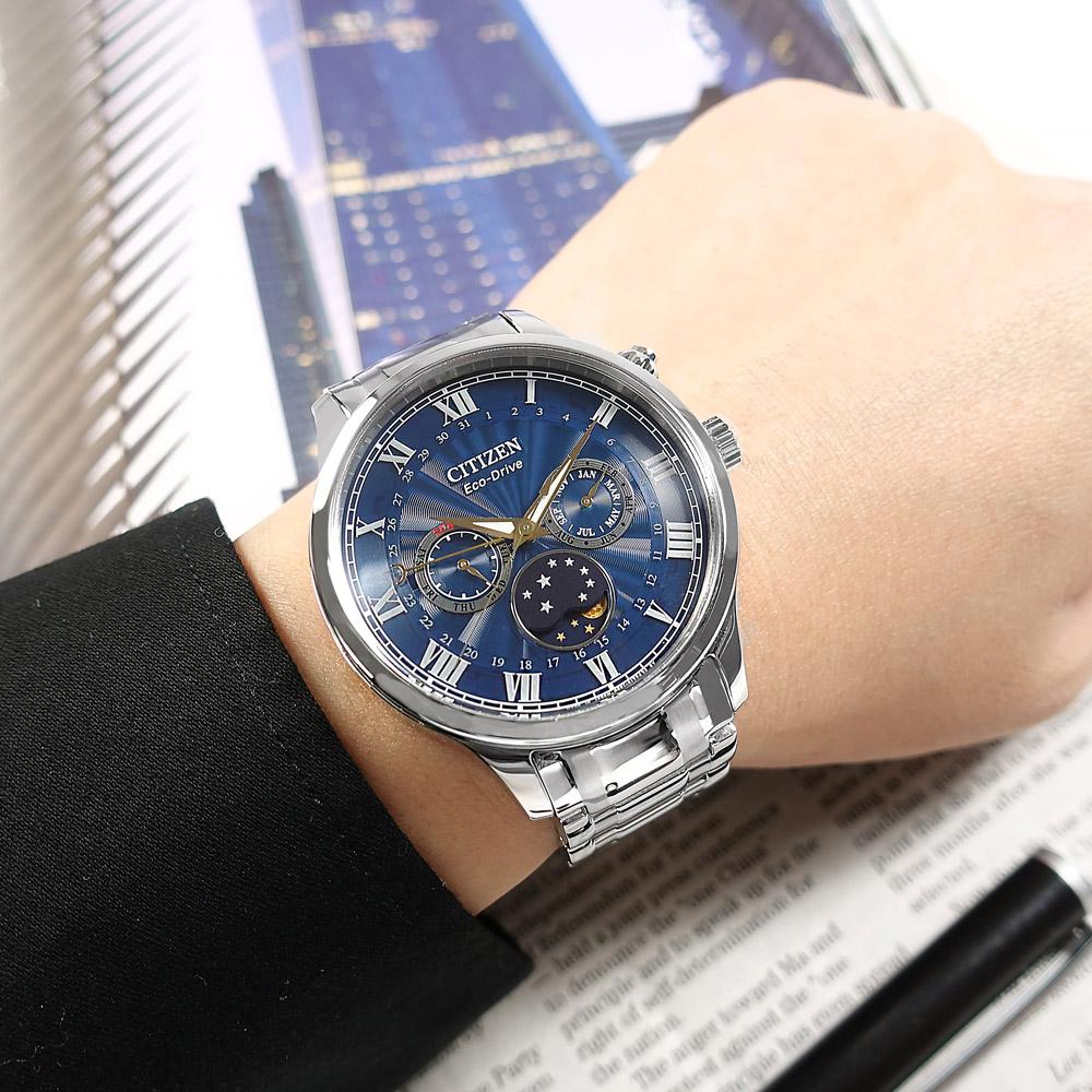CITIZEN / AP1050-81L / 光動能 月相錶 羅馬刻度 藍寶石水晶玻璃 不鏽鋼手錶 藍色 42mm