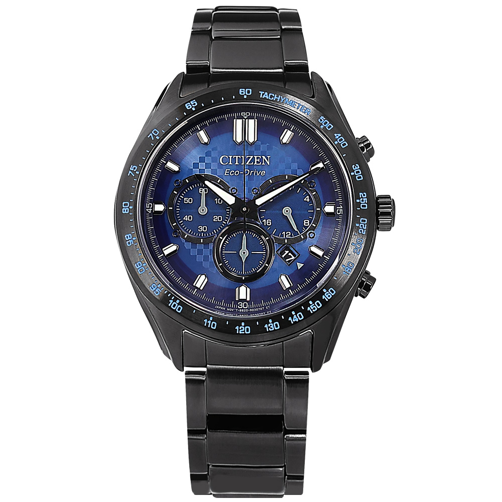 CITIZEN / CA4459-85L / 光動能 三眼計時 藍寶石水晶玻璃 日期 防水100米 不鏽鋼手錶 藍x鍍黑 43mm
