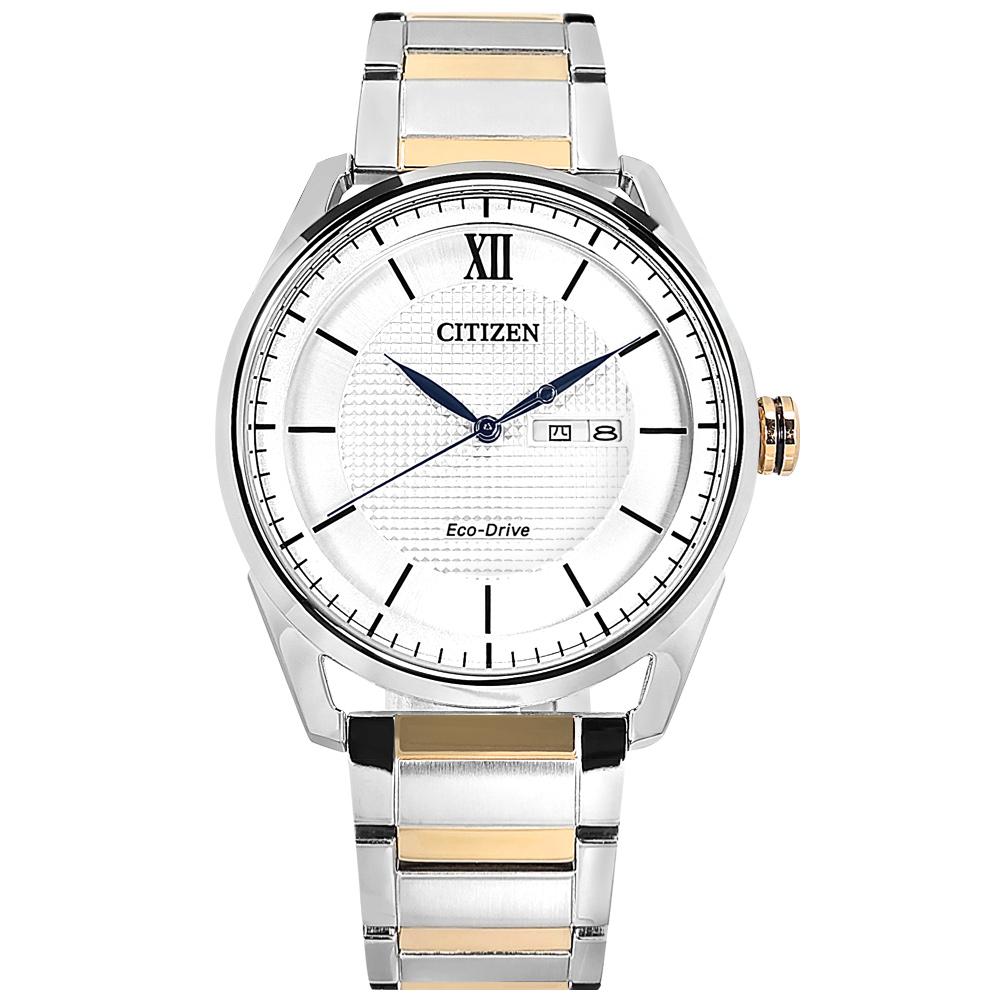 CITIZEN / AW0084-81A / 光動能 格紋時尚 防水100米 星期日期 不鏽鋼手錶 銀白x鍍玫瑰金 42mm