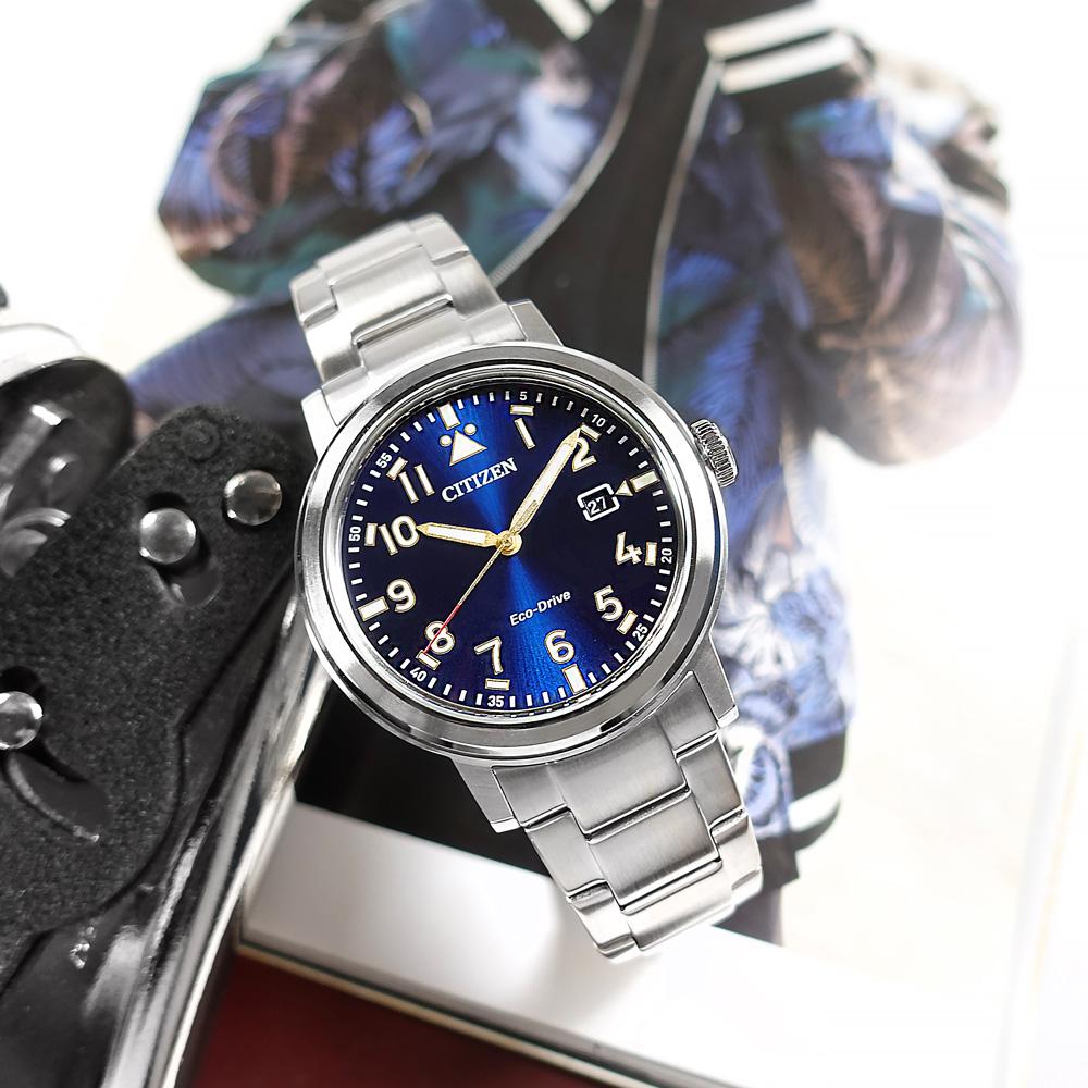 CITIZEN / AW1620-81L / 光動能 潮流時尚 防水100米 日期 不鏽鋼手錶 藍色 42mm