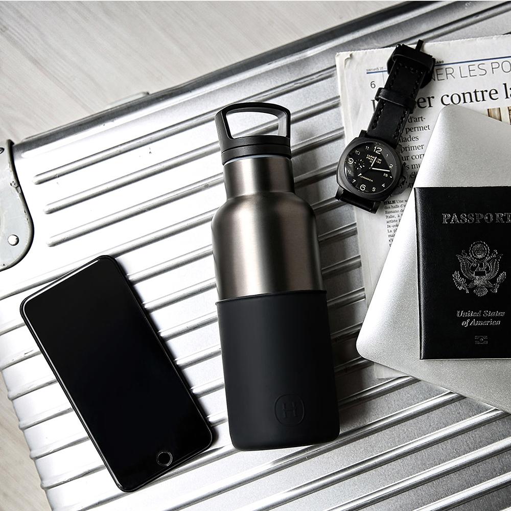 美國HYDY時尚真空保溫瓶_油墨黑-鈦灰瓶(小容量480ml)