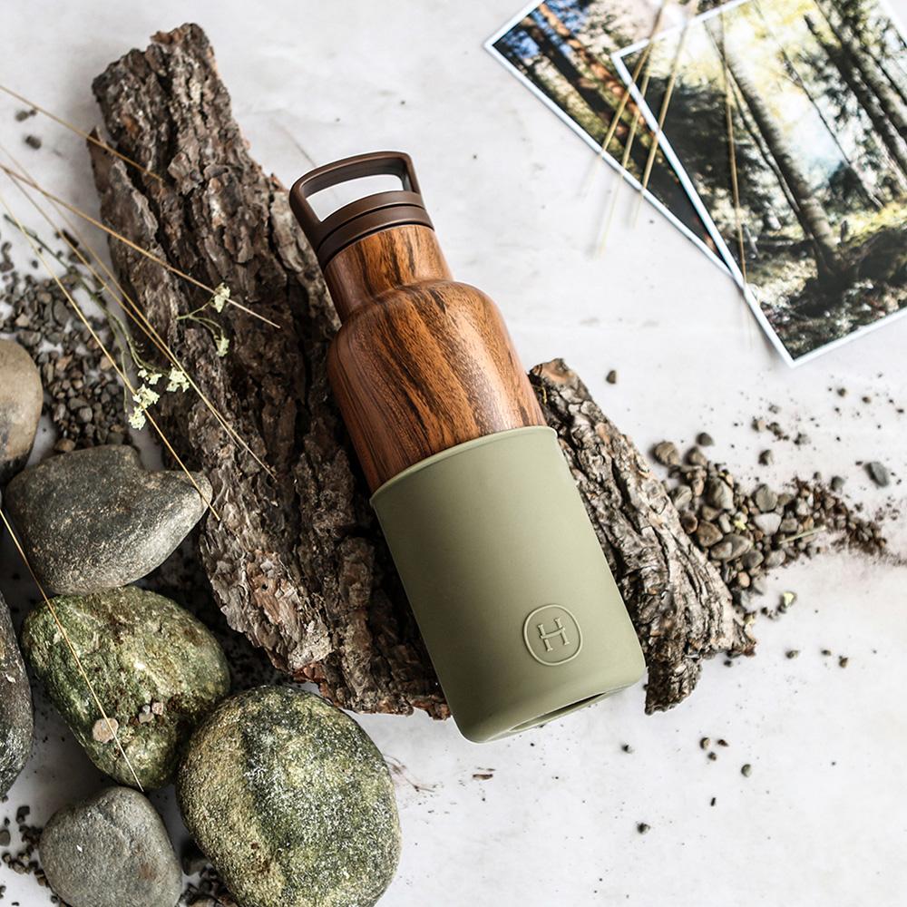 美國HYDY時尚真空保溫瓶_軍綠-木紋瓶(小容量480ml)