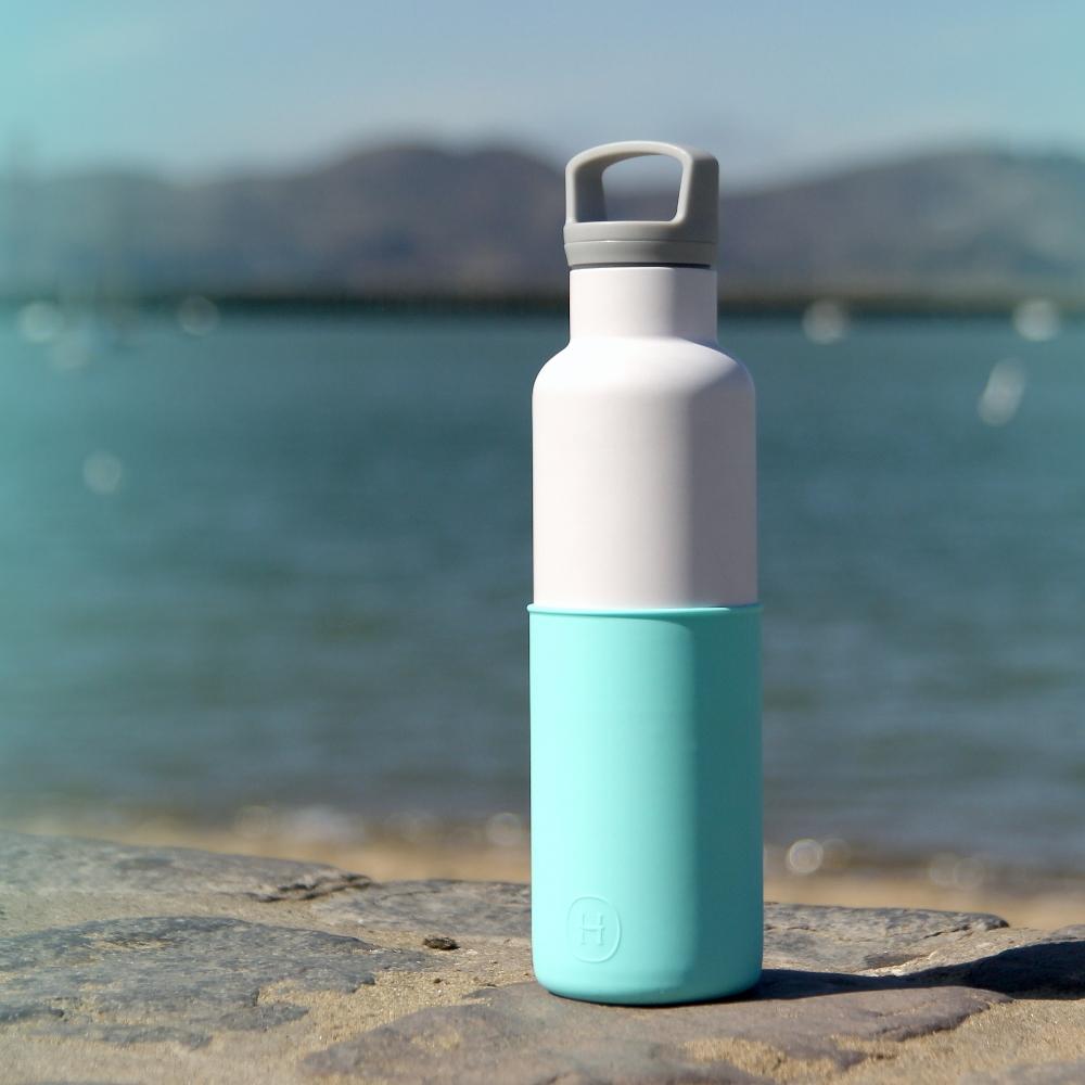 美國HYDY時尚真空保溫瓶_北極藍-白瓶(大容量590ml)