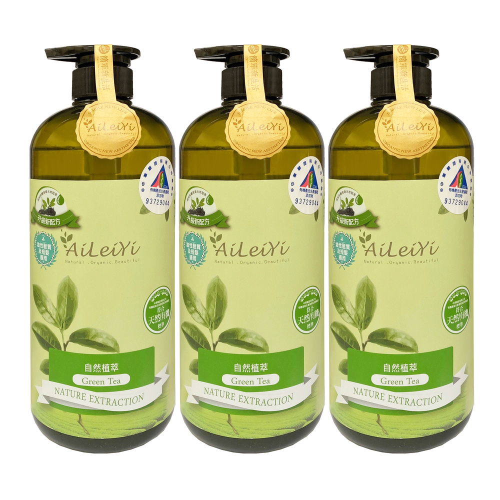 送黑面膜*1片-AiLeiYi洋甘菊修護洗髮精-清新綠茶1000ml(3瓶/組)