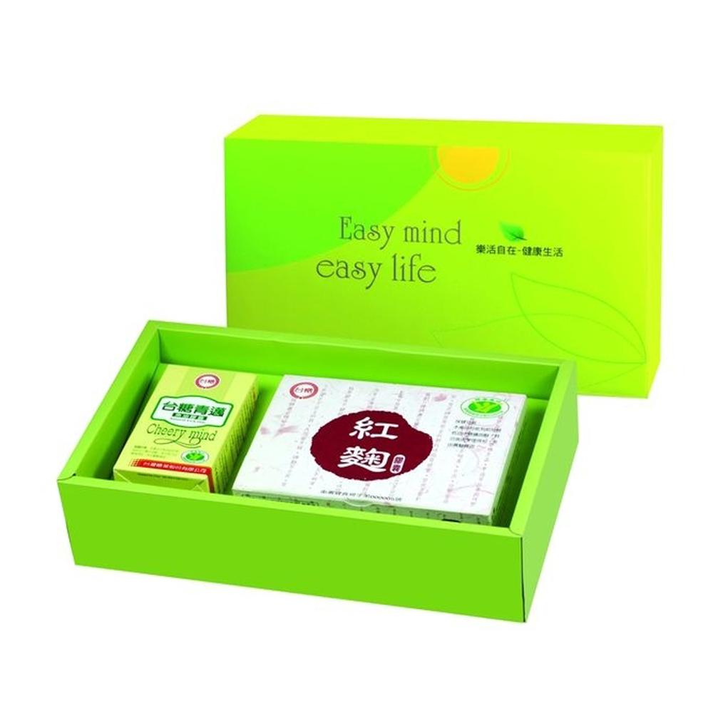 送黑面膜*1片【台糖】元氣舒活保健禮盒(精選青邁魚油+紅麴膠囊)