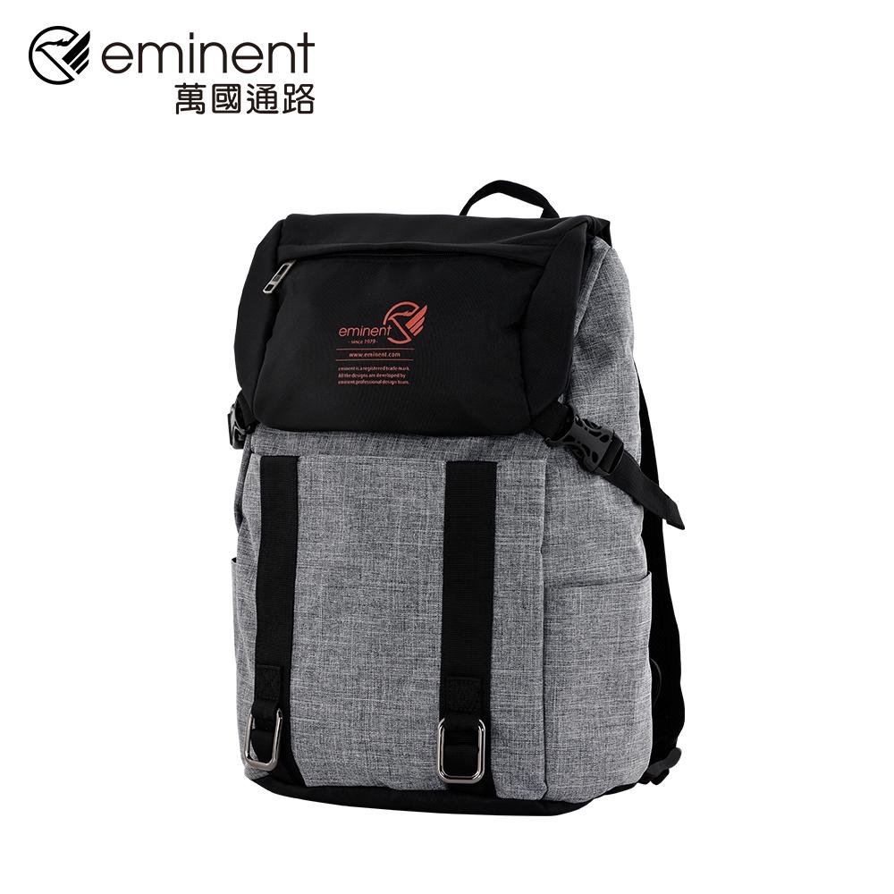 eminent 【巴柏】66579A-16吋-學生風後背包 (黑配灰)