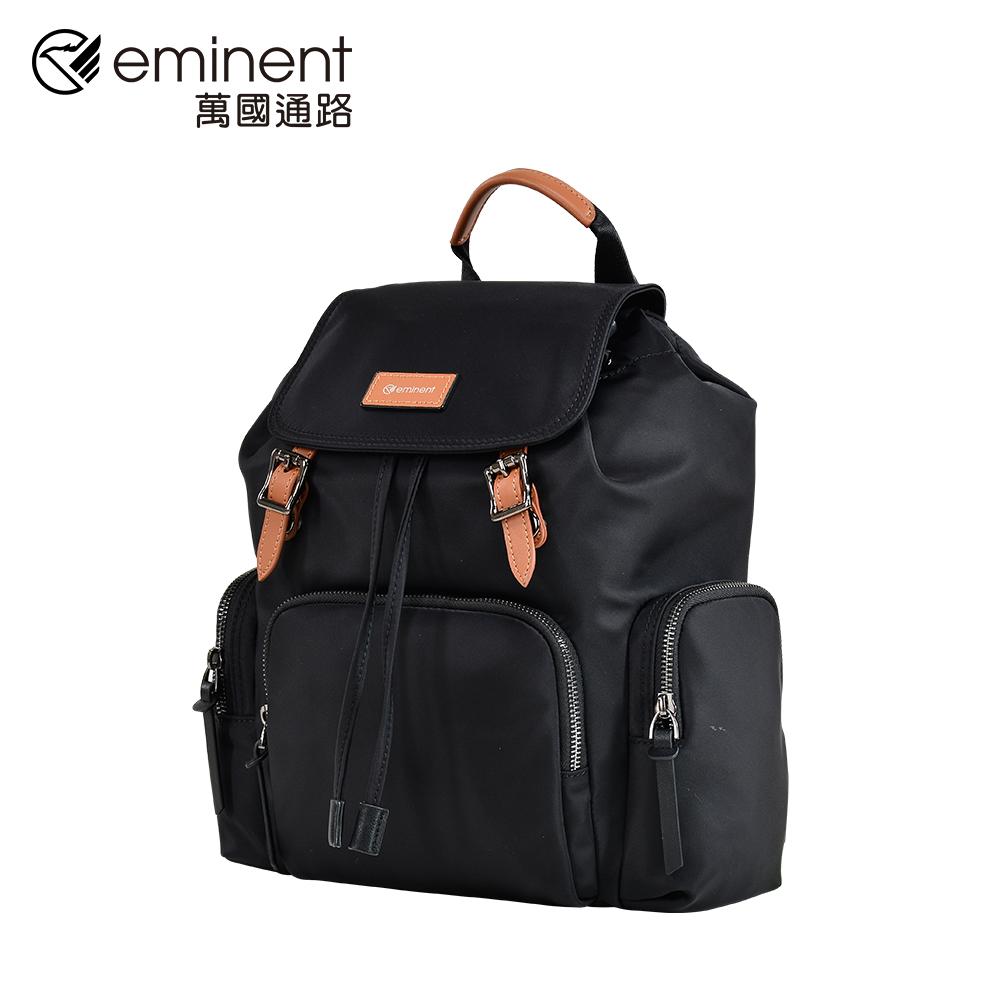 eminent 【弗拉迪米爾】713-62-12031-14吋-經典黑配棕掀蓋型束口後背包 (黑色)