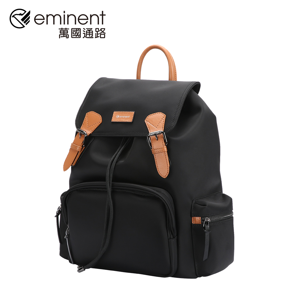 eminent 【弗拉迪米爾】713-1801-12-15吋-經典黑配棕掀蓋型束口後背包 (黑色)