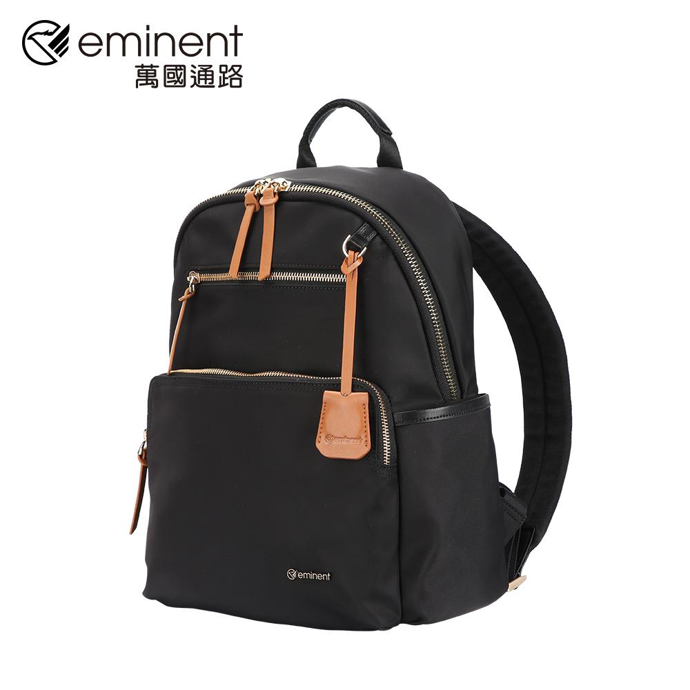 eminent 【弗拉迪米爾】713-62-04329-14吋-經典黑配棕金鍊女包 (黑色)