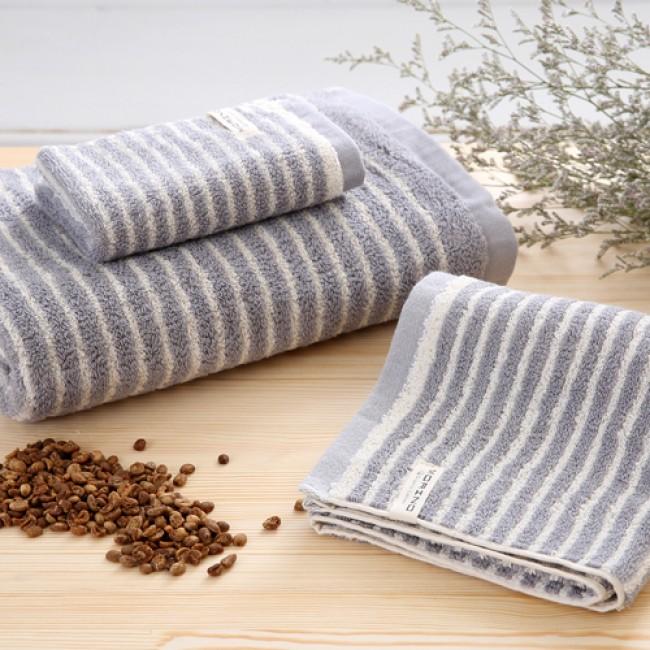 【MORINO摩力諾】咖啡紗X有機棉橫紋浴巾