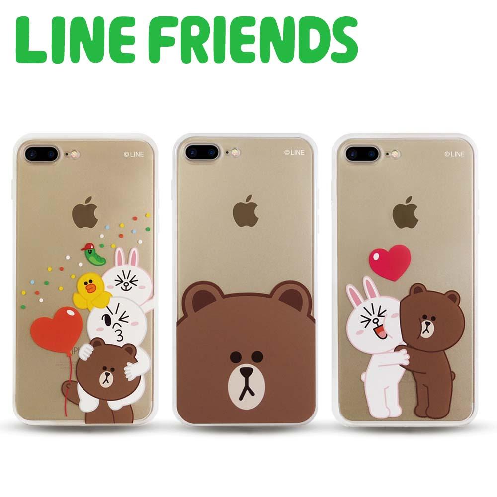 【優惠二入組】LINE FRIENDS iPhone 7 Plus透明霧面硬式保護殼