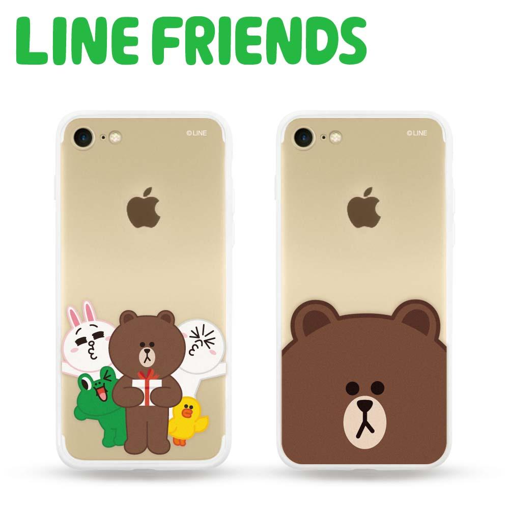【新春優惠二入組】LINE FRIENDS iPhone 7透明霧面硬式保護殼
