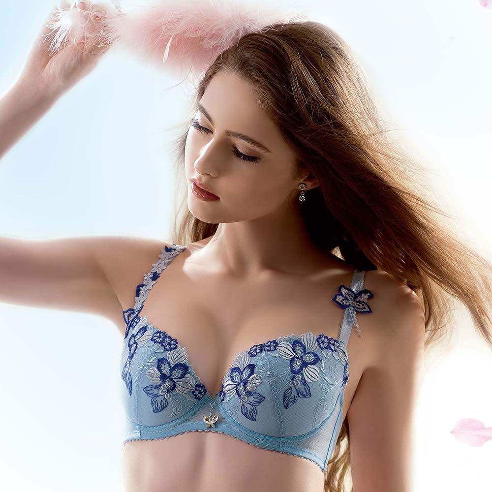 LADY 天堂樂園系列 刺繡深線內衣 B-F罩(天空藍)