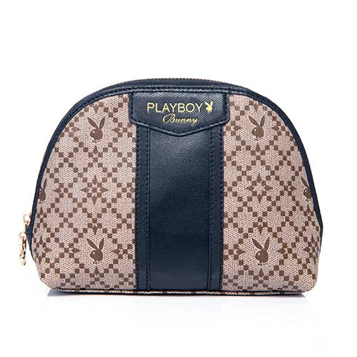 PLAYBOY- Diamond 鑽石情緣系列 化妝包-時尚黑